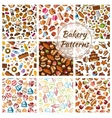 Bakery bread pastry patisserie sweets patterns vector image