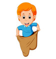 boy playing jumping sack race vector image vector image