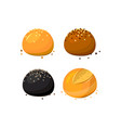 buns and rolls assortment with sesame at white vector image vector image