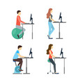 cartoon characters people standing desk set vector image