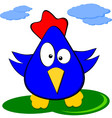 Cartoon Funny Blue Chicken - Comics Character vector image