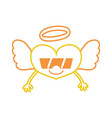 color line smile heart angel kawaii with arms and vector image