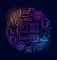 colorful online education circular vector image