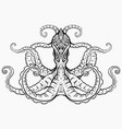 contour black and white of octopus vector image vector image