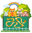 cute animals board game template vector image vector image