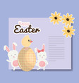 cute rabbits with easter eggs painted and chick vector image vector image