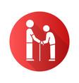 elderly people help flat design long shadow glyph vector image vector image