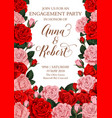 engagement invitation card roses flowers vector image vector image