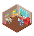 family life isometric concept housewife and vector image vector image