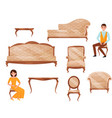 flat set of classic furniture young man vector image