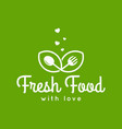 fresh food logo fork and spoon love concept vector image