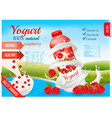 fruit yogurt with berries advert concept white vector image vector image