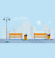 full garbage cans on street vector image vector image