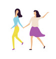 girls dancer holding hands and dancing vector image vector image