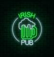 glowing neon irish pub signboard in circle frame vector image vector image