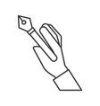 hand holding fountain pen supply design vector image