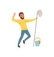 happy bearded man with mop in hand bucket and vector image