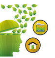 head think green environment house factory vector image vector image