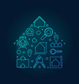 house blue shape made with outline icons vector image