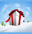 huge christmas present in snow vector image vector image