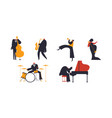 jazz band people set on white background vector image vector image