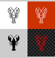 lobster icon simple line lobster or crayfish vector image vector image