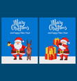 merry xmas happy new year poster santa deer box vector image
