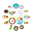 meter icons set cartoon style vector image vector image