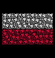 poland flag mosaic of space ship icons vector image vector image