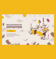 procrastination isometric landing page or banner vector image vector image