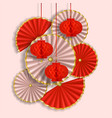 red and white composition with paper flowers fans vector image vector image