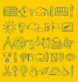 school supplies handdrawn icons on yellow vector image vector image