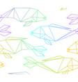 seamless colorful linear abstract polygon fish vector image vector image