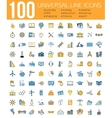 set 100 minimal universal line icons business vector image