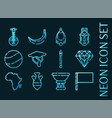set africa blue glowing neon icons vector image vector image