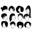 set female afro hairstyles collection of vector image vector image
