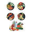 set poke bowls healthy food from natural vector image vector image