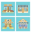 shops and stores icons set in flat design vector image vector image
