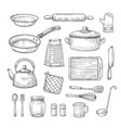 sketch kitchen tools cooking utensils hand drawn vector image vector image