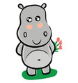 smiling grey hippo with pink flowers on white vector image
