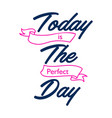today is perfect day hand written lettering vector image vector image
