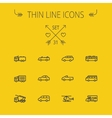 Transportation thin line icon set vector image vector image