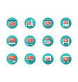 video advertising places flat round icons vector image vector image