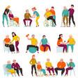 volunteers help elderly flat set vector image