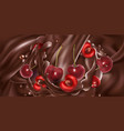 whole and sliced cherries in liquid chocolate vector image vector image