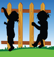 wooden fence with baby silhouette vector image vector image