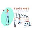 young man character creation set for animation vector image vector image