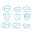 chef white hats thin line set vector image