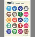Media and social network web icons set vector image