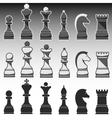 Set of Chess Figures black grey and white vector image